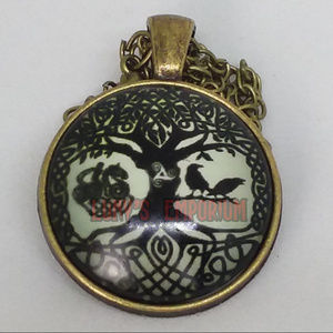 Jewelry - Bronzed Tree with Birds and Nature Glass Pendant